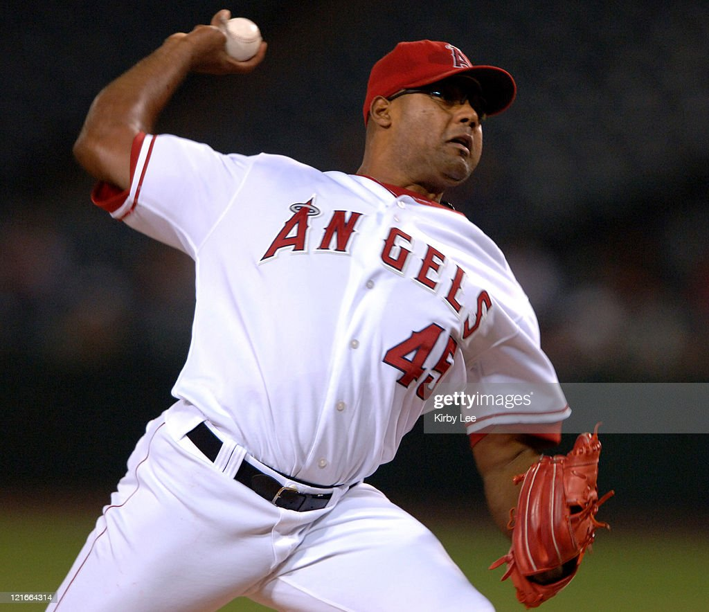 Los Angeles Angels of Anaheim starter Kelvim Escobar pitches during 52 loss to the Texas Rangers at Angel Stadium in Anaheim Calif on Tuesday...