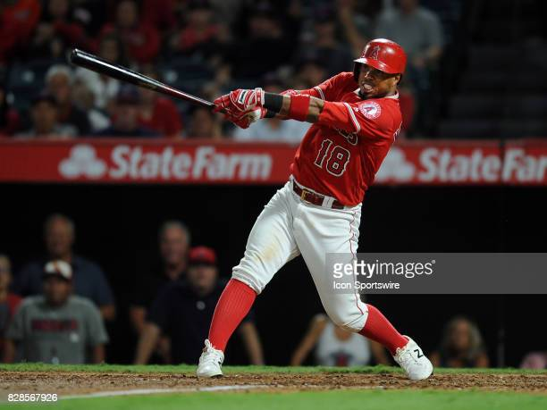 Los Angeles Angels of Anaheim third baseman Luis Valbuena gets a hit in the seventh inning of a game against the Baltimore Orioles on August 8 played...