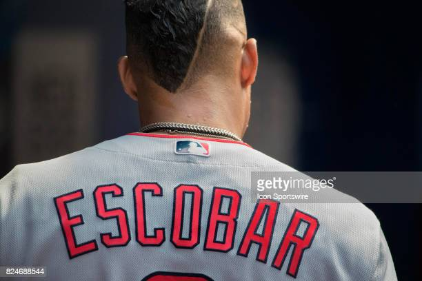 Los Angeles Angels of Anaheim Third baseman Yunel Escobar in the Angels dugout during the regular season MLB game between the Los Angeles Angels of...