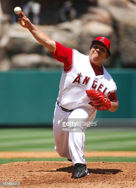 Los Angeles Angels of Anahiem starter Bartolo Colon pitches during 75 victory over the Tampa Bay Devil Rays at Angel Stadium in Anaheim Calif on...