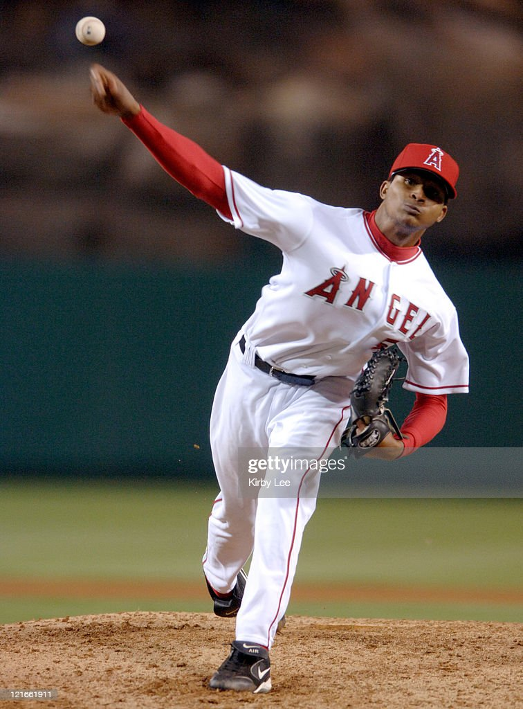 Los Angeles Angels of Anahiem starter <a gi-track='captionPersonalityLinkClicked' href=/galleries/search?phrase=Ervin+Santana&family=editorial&specificpeople=243096 ng-click='$event.stopPropagation()'>Ervin Santana</a> pitches during 4-0 victory over the Chicago White Sox at Angel Stadium in Anaheim, Callifornia. on Monday, May 23, 2005. Santana (1-0) pitched a complete-game shutout for his first major league win. Santana, 22 years, 4 months and 13 days, is the youngest Angel to throw a complete game since 1989.