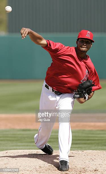Los Angeles Angels pitcher Ervin Santana throws a pitch in Cactus League action vs the Seattle Mariners at Tempe Diablo Stadium in Tempe Arizona on...