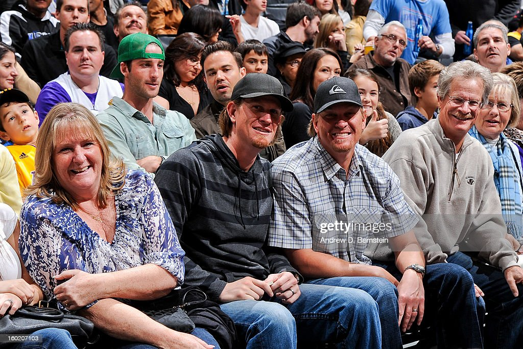 Los Angeles Angels pitcher Jered Weaver attends a game between the Oklahoma City Thunder and Los Angeles Lakers at Staples Center on January 27, 2013 in Los Angeles, California.