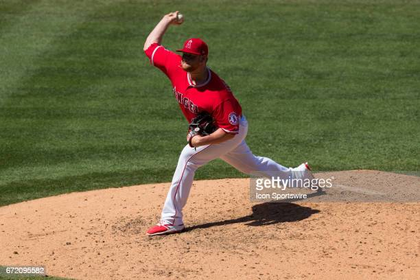 Los Angeles Angels relief pitcher Brooks Pounders during the MLB regular season baseball game between the Toronto Blue Jays and the Los Angeles...
