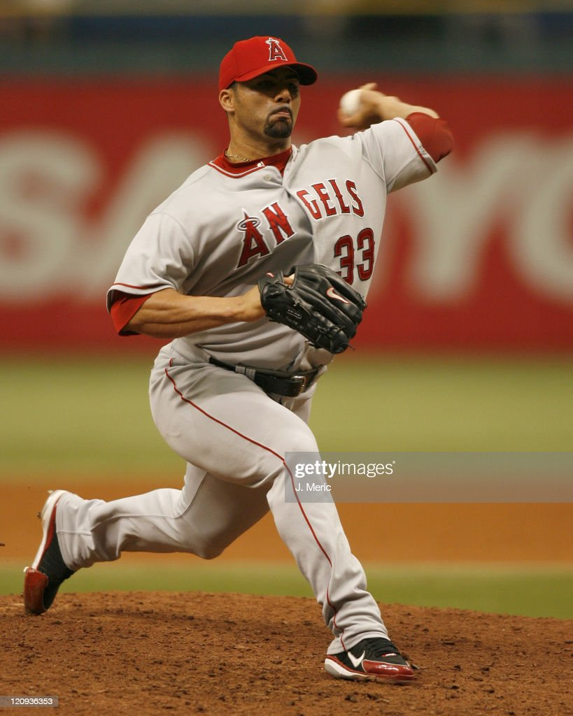 Los Angeles Angels relief pitcher <a gi-track='captionPersonalityLinkClicked' href=/galleries/search?phrase=J.C.+Romero&family=editorial&specificpeople=225049 ng-click='$event.stopPropagation()'>J.C. Romero</a> makes a pitch in the ninth inning of Wednesday's game against Tampa Bay at Tropicana Field in St. Petersburg, Florida on July 26, 2006.