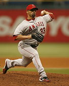 Los Angeles Angels relief pitcher JC Romero makes a pitch in the ninth inning of Wednesday's game against Tampa Bay at Tropicana Field in St...