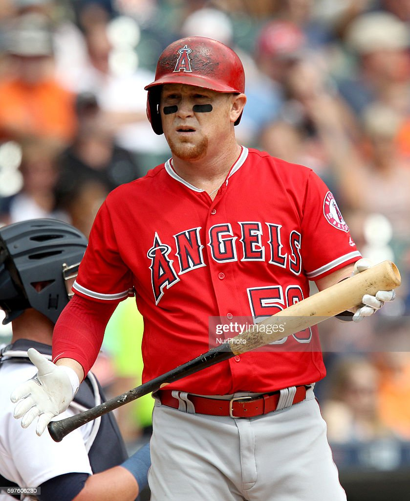 Los Angeles Angels right fielder Kole Calhoun at bat during the first inning of a baseball game against the Detroit Tigers in Detroit Michigan USA on...