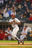 Los Angeles Angels' Right Fielder Vladimir Guerrero singles during the Angels' 125 victory over the Chicago White Sox May 10 2006 at US Cellular...
