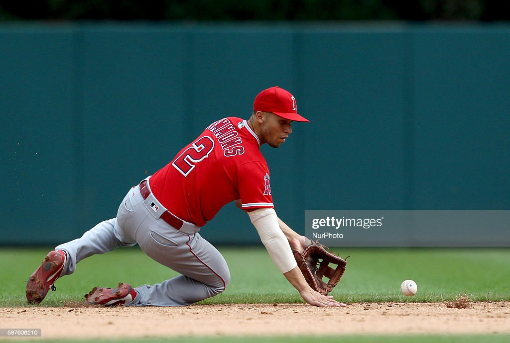 Los Angeles Angels shortstop Andrelton Simmons catches a ground ball hit by Detroit Tigers right fielder JD Martinez during the ninth inning of a...