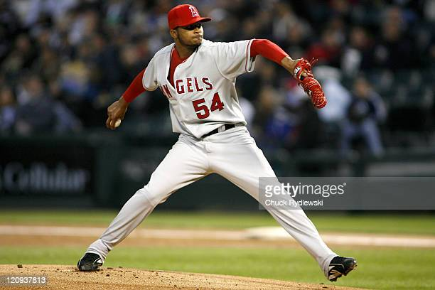 Los Angeles Angels' Starter Ervin Santana pitches during their game versus the Chicago White Sox April 27 2007 at US Cellular Field in Chicago...