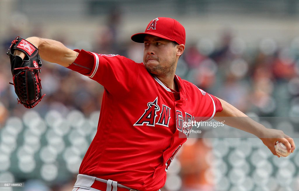Los Angeles Angels starting pitcher Tyler Skaggs pitches the first inning of a baseball game against the Detroit Tigers in Detroit Michigan USA on...