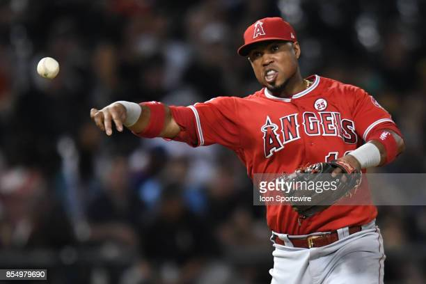 Los Angeles Angels third baseman Luis Valbuena fields a ground ball during a game between the and the Los Angeles Angels the Chicago White Sox on...