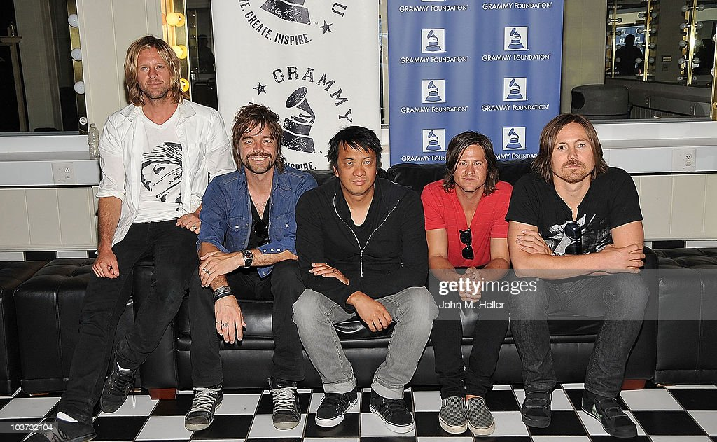 Los Angeles area high school and college students attend the Grammy Foundation's sound check with Switchfoot (L-R) Lead Vocals and Guitar <a gi-track='captionPersonalityLinkClicked' href=/galleries/search?phrase=Jon+Foreman&family=editorial&specificpeople=208895 ng-click='$event.stopPropagation()'>Jon Foreman</a>, Guitar Andrew Shirley, Keyboards and backup Guitar Jerome Fontamillas , Bass Guitar Tim Foreman and Drums Chad Butler at the Greek Theater on August 29, 2010 in Los Angeles, California.