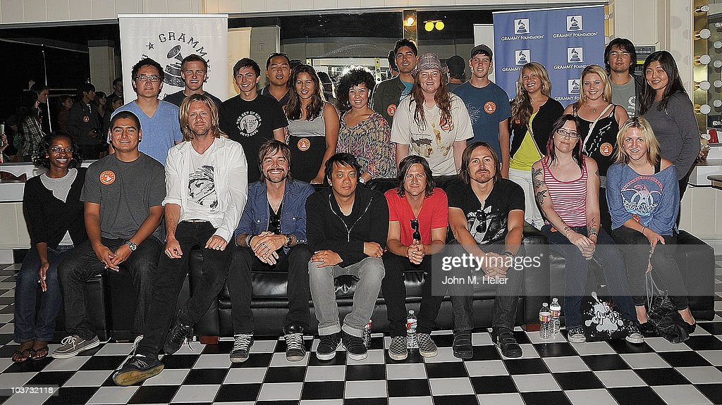 Los Angeles area high school and college students attend the Grammy Foundation's sound check and a Q and A with Switchfoot, Front Row 3rd from left (L-R) Lead Vocals and Guitar <a gi-track='captionPersonalityLinkClicked' href=/galleries/search?phrase=Jon+Foreman+-+Musician&family=editorial&specificpeople=208895 ng-click='$event.stopPropagation()'>Jon Foreman</a>, Guitar Andrew Shirley, Keyboards and backup Guitar Jerome Fontamillas , Bass Guitar Tim Foreman and Drums Chad Butler at the Greek Theater on August 29, 2010 in Los Angeles, California.