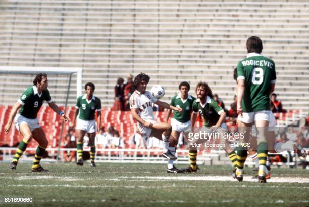 Los Angeles Aztecs' George Best mesmerizes several New York Cosmos players with his ball skills