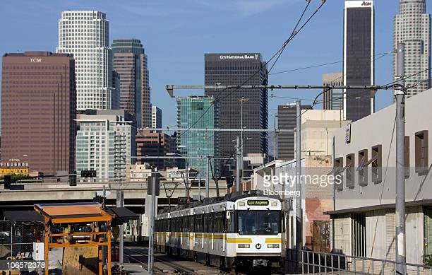 A Los Angeles blue line train heads to a station in Los Angeles California US on Tuesday Nov 2 2010 The Los Angeles County Metropolitan...