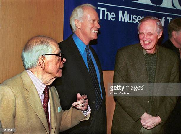 Los Angeles CA Actor Mike Farrell is caught between a joke by his former cast members of the popular television series M*A*S*H Harry Morgan and Alan...