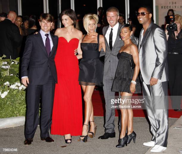 Los Angeles CA Actor Tom Cruise Katie Holmes Victoria Beckham David Beckham Jada Pinkett Smith and Will Smith arrive at the 'Beckham Welcome To LA...