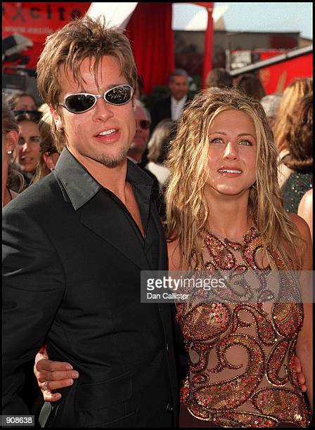 09/12/99 Los Angeles CA Brad Pitt and Jennifer Aniston arrive at the '51st Annual primetime EMMY Awards' Picture by DAN CALLISTER Online USA Inc
