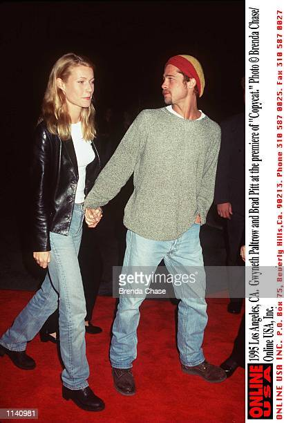 Los Angeles CA Gwyneth Paltrow and Brad Pitt at the premiere of 'Copycat'