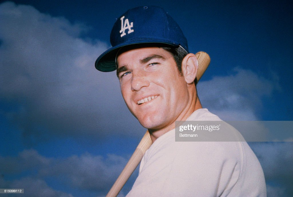 Head and shoulders portrait of the Los Angeles Dodgers' infielder, <a gi-track='captionPersonalityLinkClicked' href=/galleries/search?phrase=Steve+Garvey&family=editorial&specificpeople=210829 ng-click='$event.stopPropagation()'>Steve Garvey</a>, wearing his uniform.