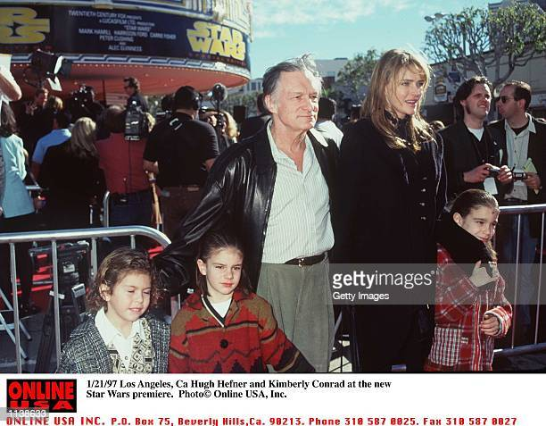 Los Angeles Ca Hugh Hefner and Kimberley Conrad at the prmiere of the New Star Wars