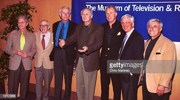 Los Angeles CA M*A*S*H pose during a reunion March 6 2000 in Los Angeles The cast from left Allan Arbus Harry Morgan Mike Farrell Alan Alda Wayne...