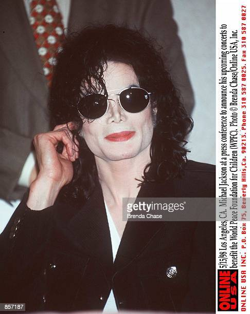Los Angeles CA Michael Jackson at a press conference to announce his upcoming concerts to benefit the World Peace Foundation for Children