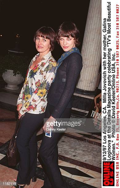 Los Angeles CA Milla Jovovich with her mother Galina Loginova at the Details Magazine party celebrating 'TV's Most Beautiful Women'