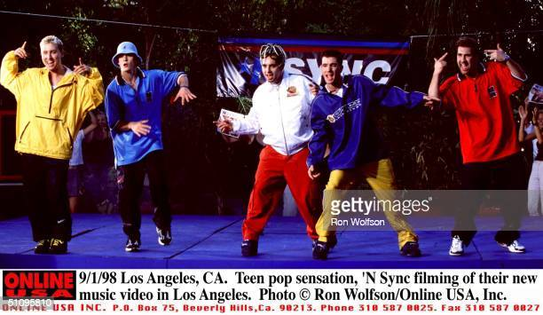 Los Angeles Ca Teen Pop Sensation 'N Sync In Los Angeles Filming Their New Music Video From LR Lance Justin Chris JC And Joey