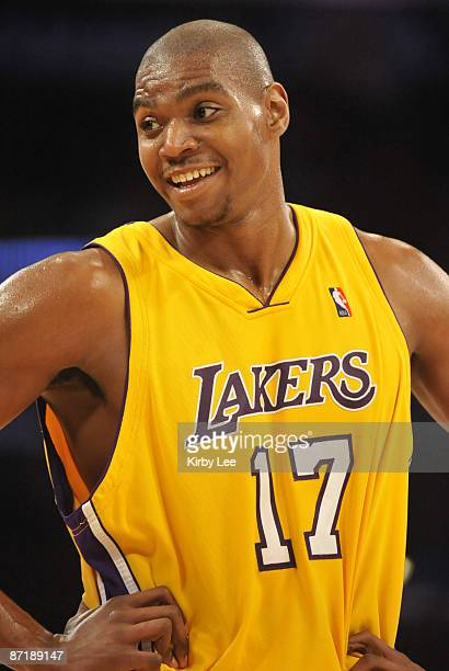 Los Angeles CA USA Los Angeles Lakers center Andrew Bynum during game against the Los Angeles Clippers at the Staples Center The Lakers defeated the...