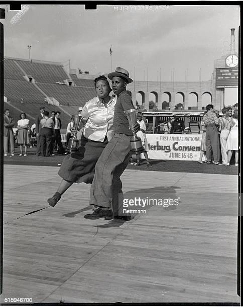 6/20/1939 Los Angeles CA Win jitterbug honors Ernstid Davidson and Herman Harrison a pair of Negro 'hep cats' showed their heels to all competition...
