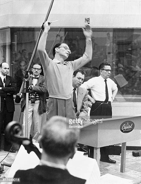 Los Angeles California Actor and singer Frank Sinatra made the second appearance of his career as a conductor recently when he raised the baton in...