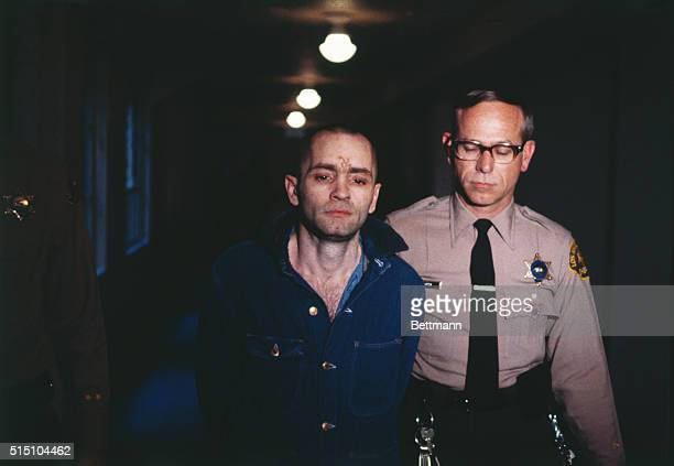 Los Angeles California Charles Manson convicted hippie leader is sullen as he is led back into the courtroom to hear the penalty he and this three...