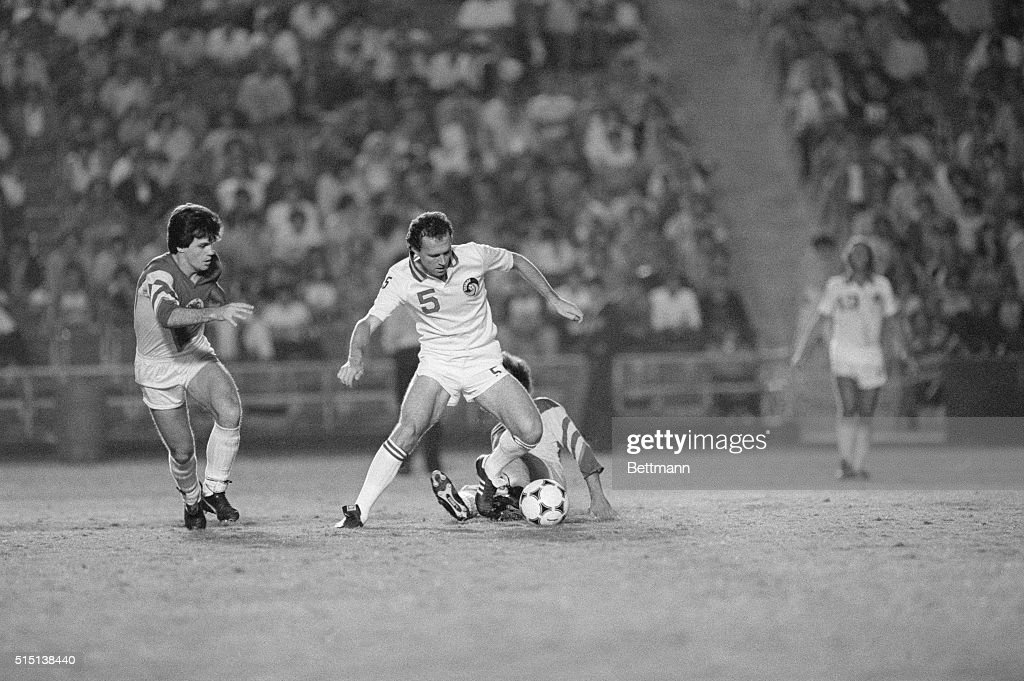 Los Angeles California Franz Beckenbauer plays his last game in the United States for the Cosmos against the Club America at the Los Angeles Coliseum...