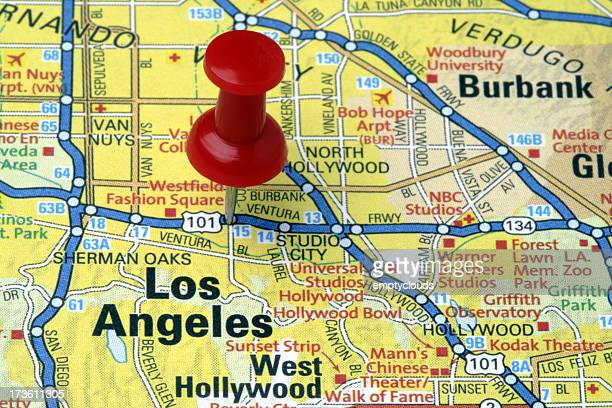 Los Angeles, California on a map.