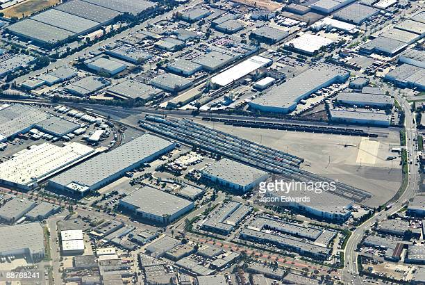 An aerial view of a transportation cargo district in Los Angeles.