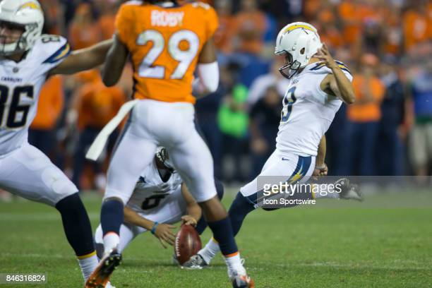 Los Angeles Chargers kicker Younghoe Too has his kick blocked during the Los Angeles Chargers vs Denver Broncos Monday Night Football game on...
