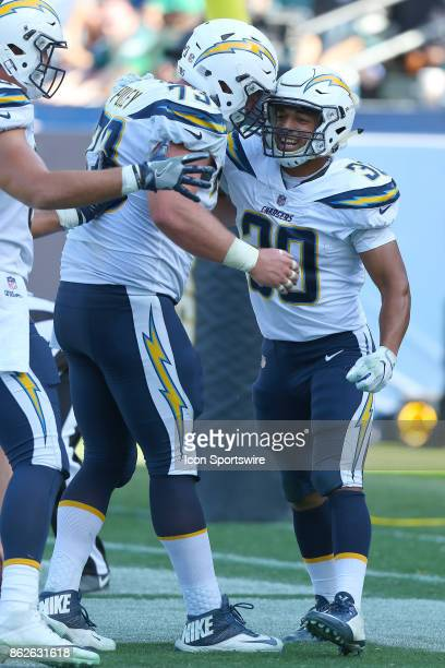 Los Angeles Chargers running back Austin Ekeler celebrates a touchdown during the Philadelphia Eagles game versus the Los Angeles Chargers on October...