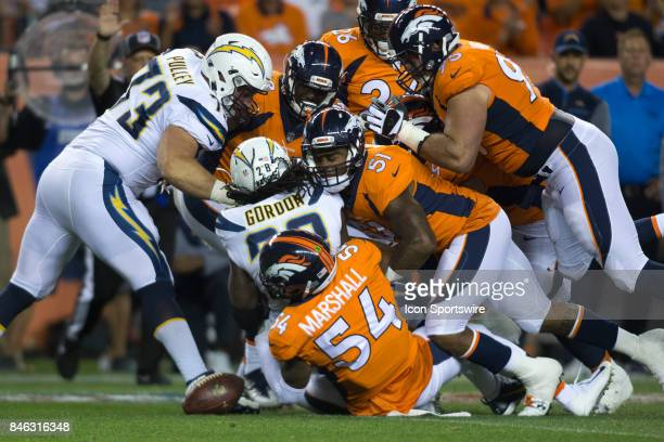Los Angeles Chargers running back Melvin Gordon fumbles the ball during the Los Angeles Chargers vs Denver Broncos Monday Night Football game on...