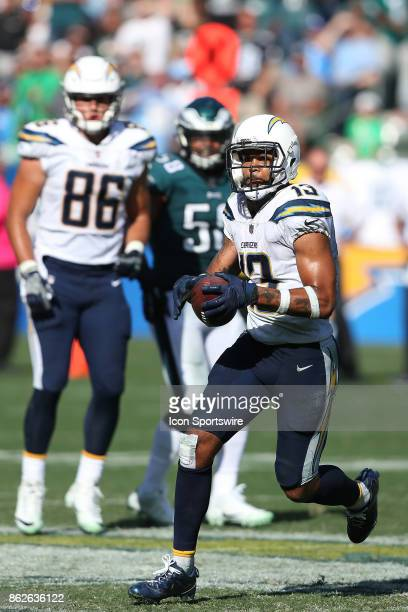 Los Angeles Chargers wide receiver Keenan Allen looks for extra yards after a catch during the Philadelphia Eagles game versus the Los Angeles...