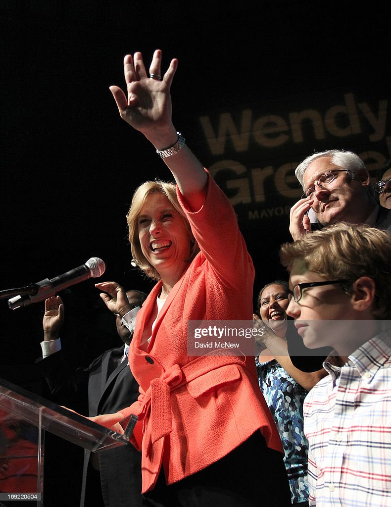 Los Angeles City Controller Wendy Greuel addresses her backers with her son Thomas and husband Dean Schramm (R) at her side on election night of her Los Angeles mayoral run-off election against Councilman Eric Garcetti on May 21, 2013 in Los Angeles, California. Greuel is poised to become the first-ever woman mayor of Los Angeles in her bid to replace two-time mayor Antonio Villaraigosa.