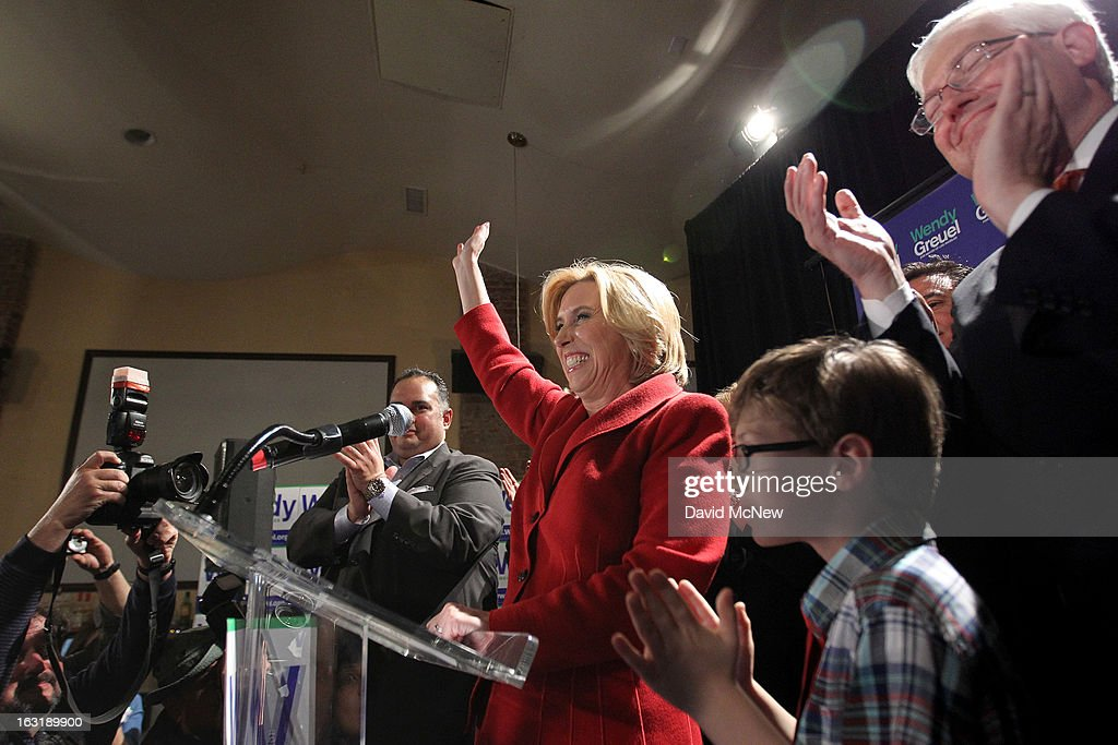Los Angeles City Controller Wendy Greuel addresses her supporters with her son Thomas and husband Dean Schramm (R) on Los Angeles mayoral primary night on March 5, 2013 in Los Angeles, California. Greuel and Councilman Eric Garcetti have been locked in a close tie for the lead in the election to replace two-time mayor Antonio Villaraigosa. The top two vote getters of five candidates will face each other in a run-off election in May.