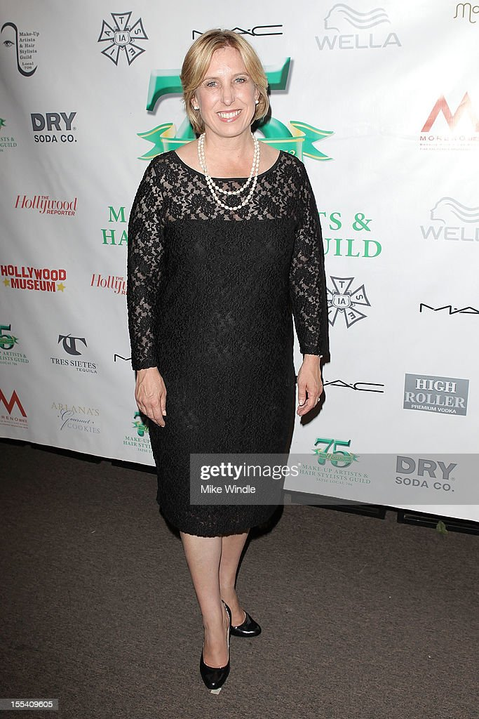 Los Angeles City Controller Wendy Greuel arrives at The Make-Up Artists And Hair Stylists Guild 75th Anniversary Gala at The Hollywood Museum on November 3, 2012 in Hollywood, California.