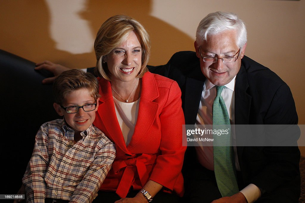 Los Angeles City Controller Wendy Greuel watches election returns with her son Thomas and husband Dean Schramm during her Los Angeles mayoral run-off election against Councilman Eric Garcetti on May 21, 2013 in Los Angeles, California. Greuel is poised to become the first-ever woman mayor of Los Angeles in her bid to replace two-time mayor Antonio Villaraigosa.