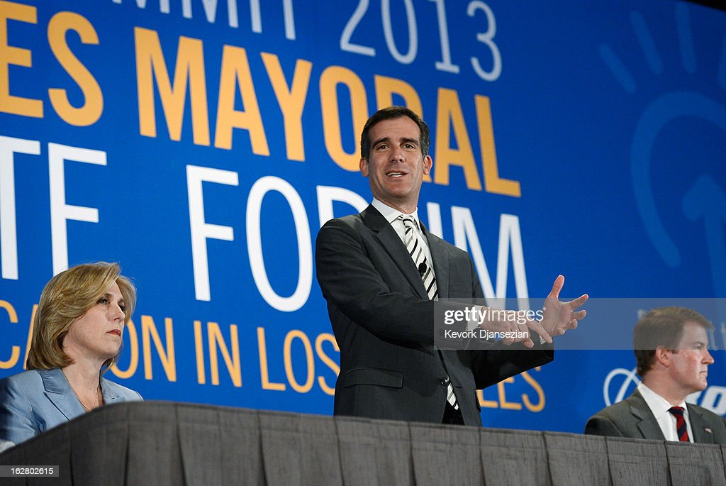 Los Angeles City council member <a gi-track='captionPersonalityLinkClicked' href=/galleries/search?phrase=Eric+Garcetti&family=editorial&specificpeople=635706 ng-click='$event.stopPropagation()'>Eric Garcetti</a> (C), a candidate seeking to succeed Los Angeles Mayor Antonio Villaraigosa, speaks during a panel discussion on improving schools with fellow mayoral candidates during the United Way of Greater Los Angeles' Education Summit at the Los Angeles Convention Center on February 27, 2013 in Los Angeles, California. The five leading candidates discuss teacher evaluations, school choice, budget cuts, the relationship between the Los Angeles Unified School District and United Teachers Los Angeles and the union representing the district's teachers.