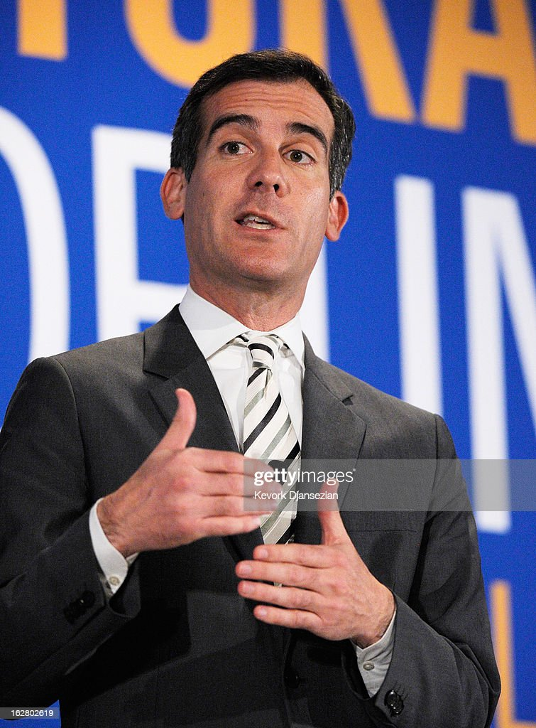 Los Angeles City Council member <a gi-track='captionPersonalityLinkClicked' href=/galleries/search?phrase=Eric+Garcetti&family=editorial&specificpeople=635706 ng-click='$event.stopPropagation()'>Eric Garcetti</a>, a candidate seeking to succeed Los Angeles Mayor Antonio Villaraigosa, speaks during a panel discussion on improving schools with fellow mayoral candidates during the United Way of Greater Los Angeles' Education Summit at the Los Angeles Convention Center on February 27, 2013 in Los Angeles, California. The five leading candidates discuss teacher evaluations, school choice, budget cuts, the relationship between the Los Angeles Unified School District and United Teachers Los Angeles and the union representing the district's teachers.
