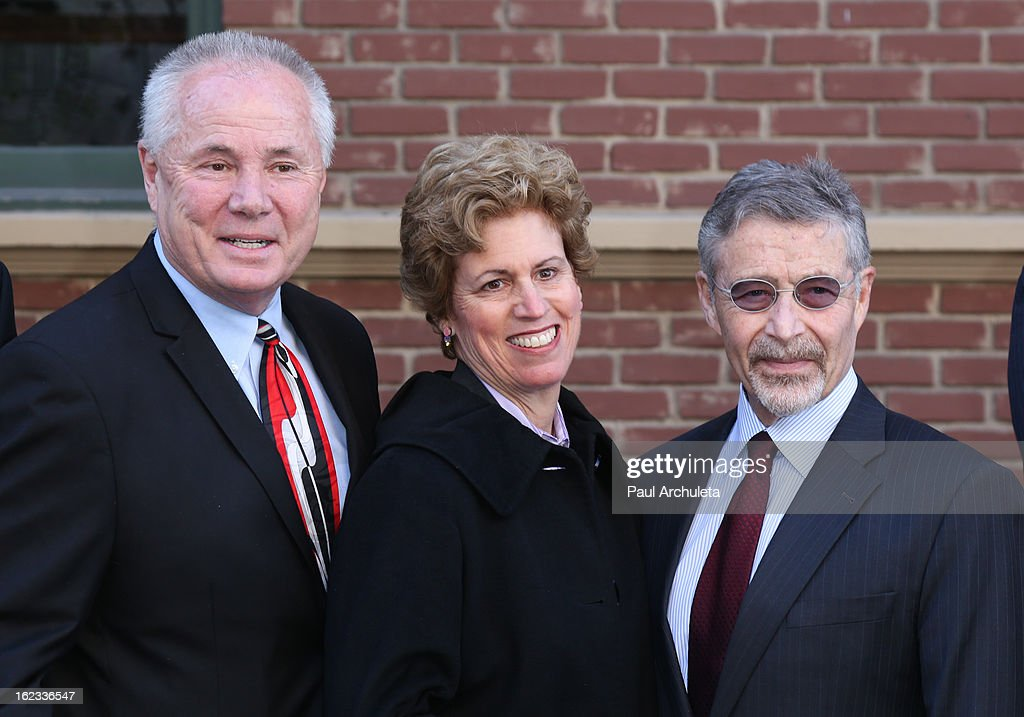 Los Angeles City Councilmen <a gi-track='captionPersonalityLinkClicked' href=/galleries/search?phrase=Tom+LaBonge&family=editorial&specificpeople=220711 ng-click='$event.stopPropagation()'>Tom LaBonge</a>, Senior Vice President of Public Affairs for Warner Bros. Lisa Rawlins and Chairman and CEO of Warner Bros. Entertainment Barry M. Meyer attend the presentation of the 2nd annual 'Made In Hollywood Award' to the crew of the Oscar nominated film 'Argo' at Warner Bros. Studios on February 21, 2013 in Burbank, California.