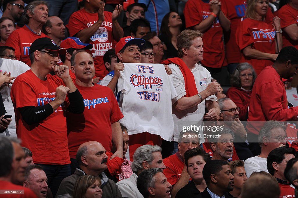 Los Angeles Clippers fans cheer during Game Three of the Western Conference Semifinals against the Oklahoma City Thunder during the 2014 NBA Playoffs at Staples Center on May 9, 2014 in Los Angeles, California.