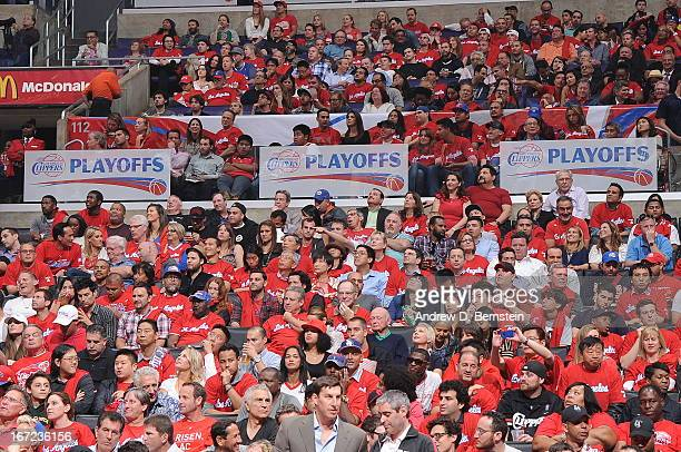 Los Angeles Clippers fans watch their team take on the Memphis Grizzlies at Staples Center in Game Two of the Western Conference Quarterfinals during...
